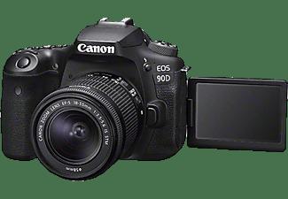 CANON EOS 90D Kit Spiegelreflexkamera, 4K, Full-HD, HD, 18-55mm Objektiv (EF-S, IS II, STM), Touchscreen Display, WLAN, Schwarz