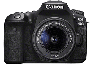 CANON EOS 90D Kit Spiegelreflexkamera, 4K, Full-HD, HD, 18-55mm Objektiv (EF-S, IS II, STM), Touchscreen Display, WLAN, Schwarz