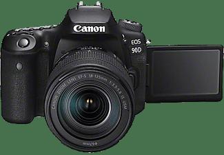 CANON EOS 90D Kit Spiegelreflexkamera, 4K, Full-HD, HD, 18-135mm Objektiv (EF-S, IS II, USM), Touchscreen Display, WLAN, Schwarz