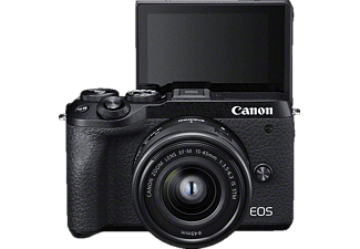 CANON EOS M6 Mark II Body Systemkamera mit Objektiv 15-45 mm, 7,5 cm Display Touchscreen, WLAN