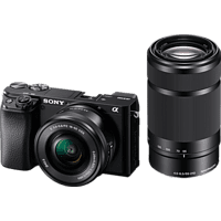 SONY Systemkamera Alpha 6100 schwarz mit Objektiv AF E 16-50mm OSS PZ und 55-210mm OSS (ILCE-6100YB)
