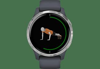GARMIN Venu Smartwatch Polymer Silikon, k.A., Granitblau/Silber