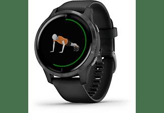 GARMIN Venu Smartwatch Faserverstärktes Polymer mit Polymergehäuse hinten Silikon, 43.2x43.2x12.4 mm, für einen Handgelenkumfang von 125 bis 190 mm, Schwarz/Schiefergrau
