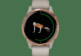 GARMIN Venu Smartwatch Faserverstärktes Polymer mit Polymergehäuse hinten Silikon, 43.2x43.2x12.4 mm, für einen Handgelenkumfang von 125 bis 190 mm, Beige/Rosegold