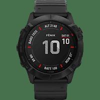 GARMIN  Fenix 6x Pro Smartwatch Polymer mit Metallgehäuse hinten, Silikon, 127-210 mm, Schwarz/Schwarz
