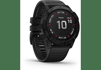 GARMIN Fenix 6x Pro Smartwatch Polymer mit Metallgehäuse hinten Silikon, 127-210 mm, Schwarz/Schwarz