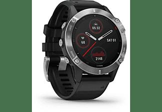 GARMIN Fenix 6 Silver Smartwatch Metall Silikon, 125-208 mm, Schwarz/Silber