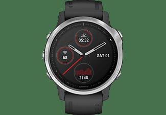 GARMIN Fenix 6s Silver Smartwatch Polymer mit Metallgehäuse Silikon, 108-182 mm, Schwarz/Silder