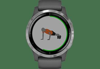 GARMIN Vivoactive 4 Smartwatch Polymer Silikon, k.A., Dunkelgrau/Silber