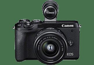 CANON Systemkamera EOS M6 Mark II schwarz mit Objektiv EF-M 15-45mm 3.5-6.3 IS STM + EVF-DC2