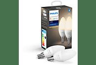 Pack 2 bombillas Bluetooth - Philips Hue vela LED E14, Luz blanca cálida, Domótica