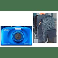 NIKON W 150 Rucksack Kit Digitalkamera Blau, 13.2 Megapixel, 3 fach opt. Zoom, LCD-TFT