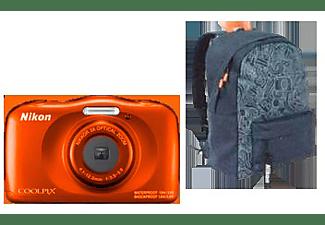 NIKON W 150 Rucksack Kit Digitalkamera Orange, 3 fach opt. Zoom, LCD-TFT