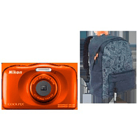 NIKON W 150 Rucksack Kit Digitalkamera Orange, 13.2 Megapixel, 3 fach opt. Zoom, LCD-TFT