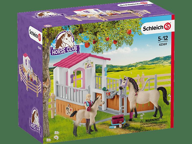 SCHLEICH Horse Club Pferdebox mit Arabern und Pferdepflegerin Spielset, Mehrfarbig