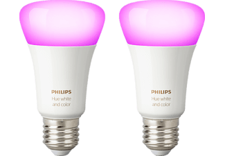 PHILIPS Hue White & Col. Amb. E27 Doppelpack Bluetooth LED Lampen Mehrfarbig