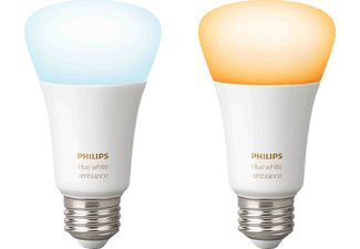 PHILIPS Hue White Amb. E27 Doppelpack Bluetooth LED Lampen, Weiß