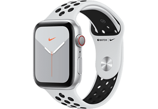 APPLE Watch Series 5 GPS + Cellular eSIM Nike 44mm Aluminiumboett i Silver - Sportband Platinum/Svart