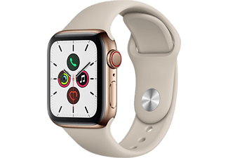 APPLE Watch Series 5 GPS+Cellular eSIM 40mm Rostfri Stålboett i Guldfinish - Sportband i Sten