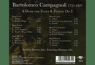Stefano Parrino, Francesco Parrino - CAMPAGNOLI: 6 DUOS FOR FLUTE AND VIOLIN, OP.2  - (CD)