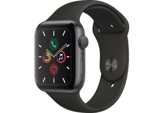 APPLE Watch Series 5 44mm spacegrijs aluminium / zwarte sportband