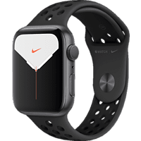 APPLE  Watch Nike Series 5 (GPS + Cellular) 44mm Smartwatch Aluminium, Fluorelastomer, 140 - 200 mm , Armband: Anthrazit Schwarz, Gehäuse: Space Grey