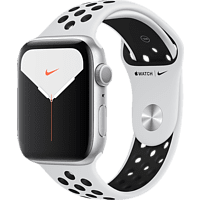 APPLE  Watch Nike Series 5 44mm Smartwatch Aluminium, Fluorelastomer, 140 - 200 mm , Armband: Pure  Platinum Schwarz, Gehäuse: Silber