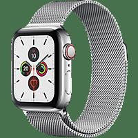 APPLE  Watch Series 5 (GPS + Cellular) 40mm Smartwatch Edelstahl, Edelstahl, 130 - 200 mm, Armband: Silber  Milanaise, Gehäuse: Edelstahl