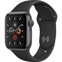 APPLE  Watch Series 5 40mm Smartwatch Aluminium, Fluorelastomer, 130 - 200 mm, Armband: Schwarz, Gehäuse: Space Grey