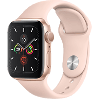 APPLE  Watch Series 5 40mm Smartwatch Aluminium, Fluorelastomer, 130 - 200 mm, Armband: Sandrosa, Gehäuse: Gold