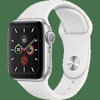 APPLE  Watch Series 5 40mm Smartwatch Aluminium, Fluorelastomer, 130 - 200 mm, Armband: Weiß, Gehäuse: Silber