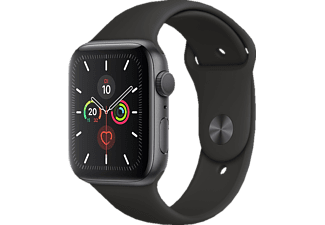 APPLE Watch Series 5 44mm, Smartwatch, Fluorelastomer, 140 - 200 mm, Armband: Schwarz, Gehäuse: Space Grey