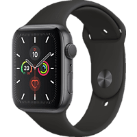APPLE  Watch Series 5 44mm Smartwatch Aluminium, Fluorelastomer, 140 - 200 mm , Armband: Schwarz, Gehäuse: Space Grey