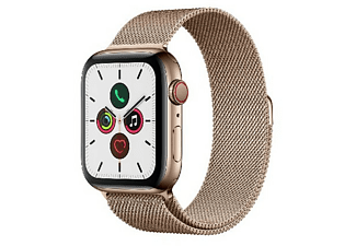 Apple Watch Series 5, Chip W3, 44 mm, GPS + Cellular, Caja acero inoxidable oro, Correa Milanese Loop oro