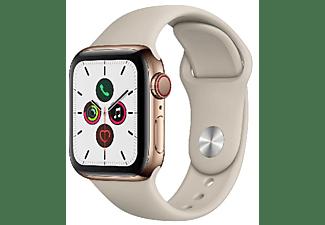 Apple Watch Series 5, Chip W3, 40 mm, GPS + Cellular, Caja acero inoxidable oro, Correa deportiva piedra