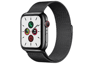 Apple Watch Series 5, Chip W3, 44 mm, GPS+Cellular, Caja acero inox negro espacial, Correa Milanese Loop negro