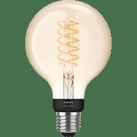 PHILIPS PHue White E27 Filament Globe Bluetooth LED Lampe, Transparent