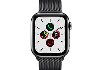 APPLE Watch Series 5 (GPS + Cellular) 44 mm - Smartwatch (140 mm - 220 mm, Acciaio inossidabile (Milanese), Acciaio inossidabile/Nero)