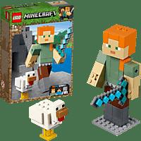 LEGO Minecraft™-BigFig Alex mit Huhn  Bausatz, Mehrfarbig