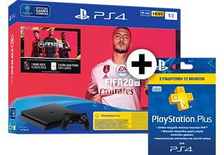 SONY PS4 1 TB F CH μαζί με Fifa 20, Fifa voucher και PlayStation Plus Card Hang - Συνδρομή 365 ημερών