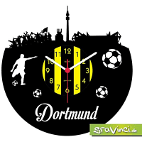 GRAVINCI Dortmund Fan-Sport Fußball Deutschland Vinyl Schallplattenuhr, Mehrfarbig