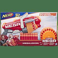 NERF Megalodon Nerf N-Strike Mega Blaster mit 20 Nerf Mega Whistler Darts Spielset, Mehrfarbig