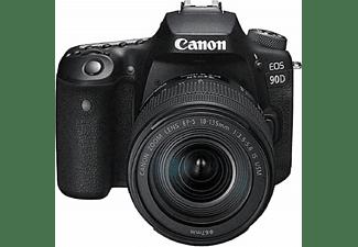 Cámara réflex - Canon EOS 90D, CMOS 32.5 MP, 4K, Wi-Fi, Bluetooth, Negro + EF-S 18-135mm f/3.5-5.6 IS USM