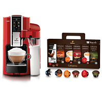 TCHIBO CAFISSIMO Saeco Latte + 60 Kapseln (Espresso, Tee, Filterkaffee, Caffè Crema) Kapselmaschine Rot