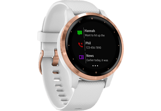 GARMIN vívoactive 4s - Montre connectée GPS (Largeur : 18 mm, Silicone, Blanc/Or rose)