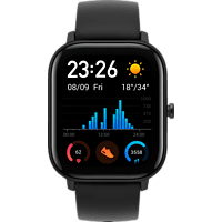AMAZFIT  A1914 GTS Smartwatch Aluminium + Kunststoff, Silikon, 120 mm + 87 mm, Obsidian Black
