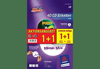 AVERY ZWECKFORM CD Etikett InkjetLaserKopierer Ø117 auf A4 rund SuperSize (L7676A-40P)