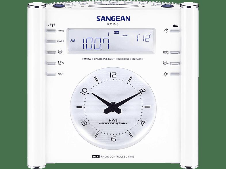 SANGEAN RCR-3 Radio-Wecker (AM / FM Tuner, FM, MW, Weiß)