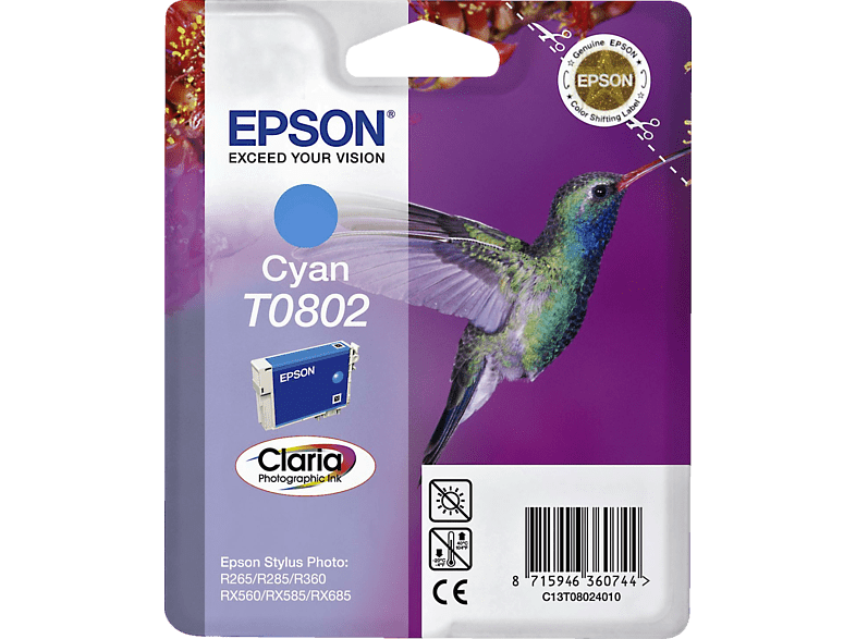 EPSON Original Tintenpatrone Kolibri Cyan (C13T08024011)